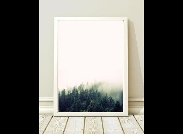 1bc6eb87 Plakat z lasem we mgle. Bardzo oryginalna ozdoba ściany. Plakat w ...