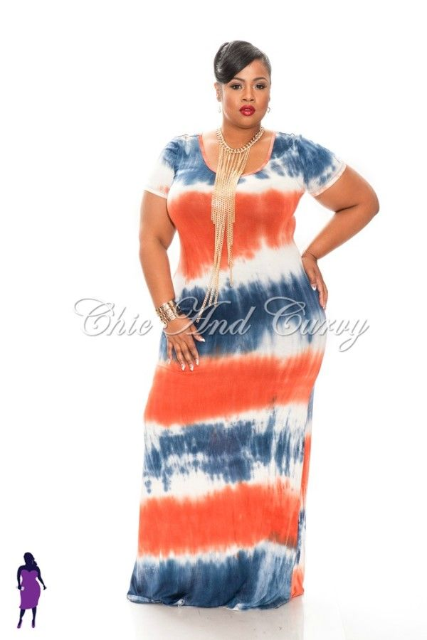 New Plus Size Tie Dye Navy Blue, White, and Orange Maxi Dress http ...