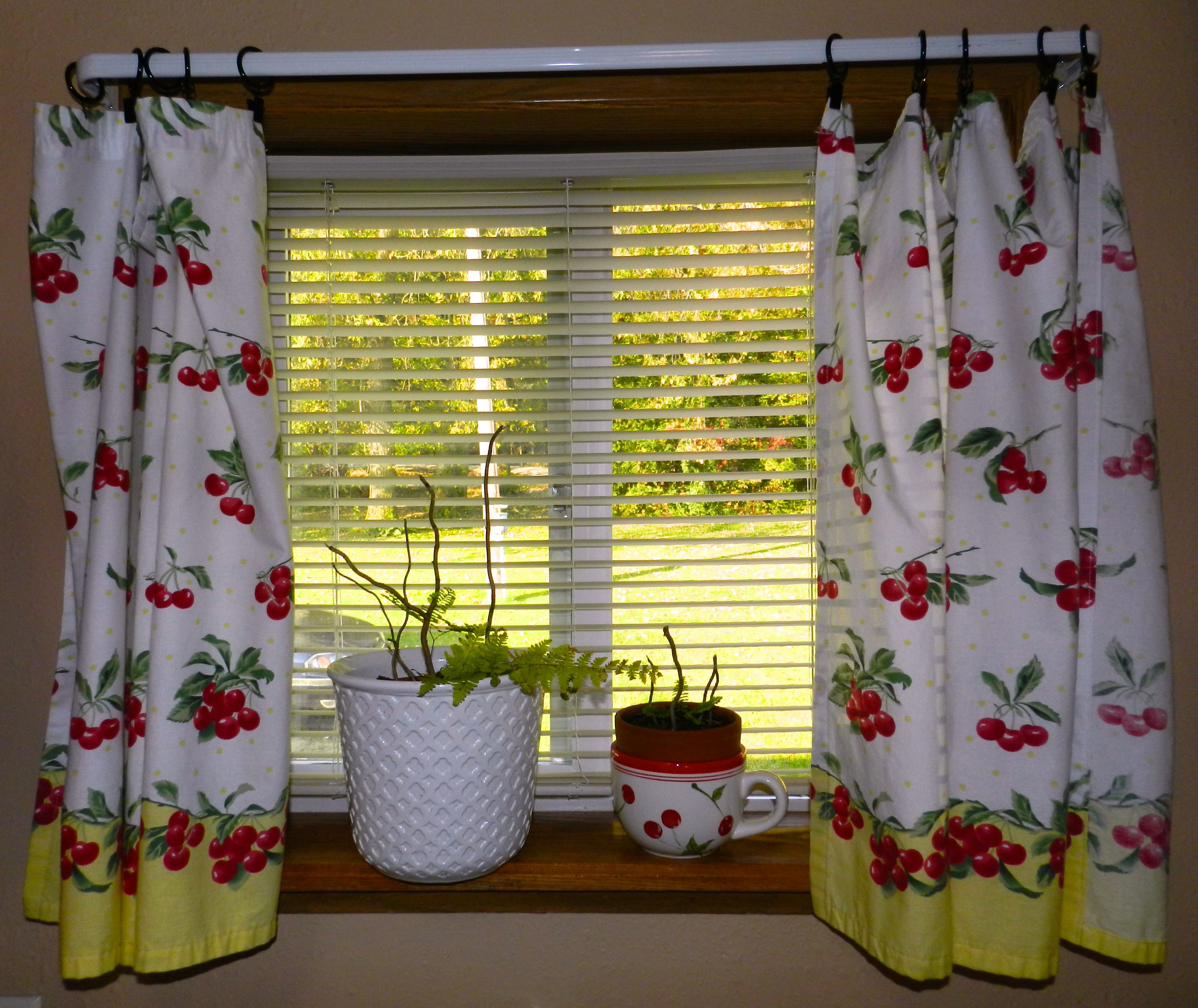 Cherries Cherry Theme Fern Curtains Blind Red And White