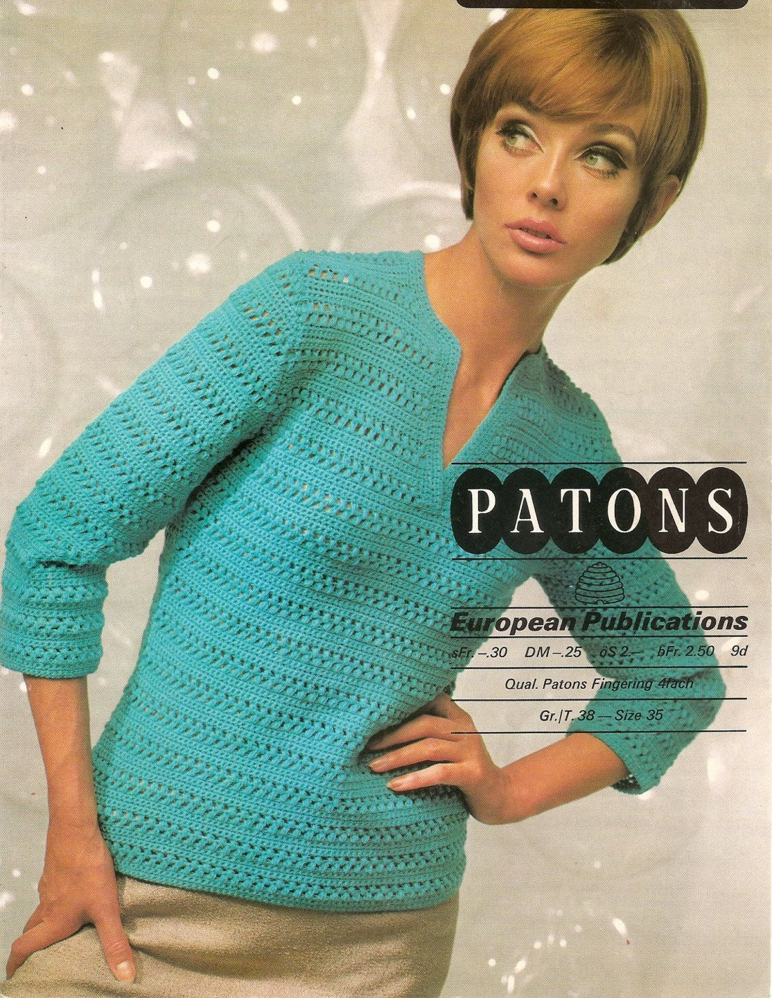 Vintage Crochet Pattern Lady\'s Sweater Three-Quarter Sleeved 4 Ply ...
