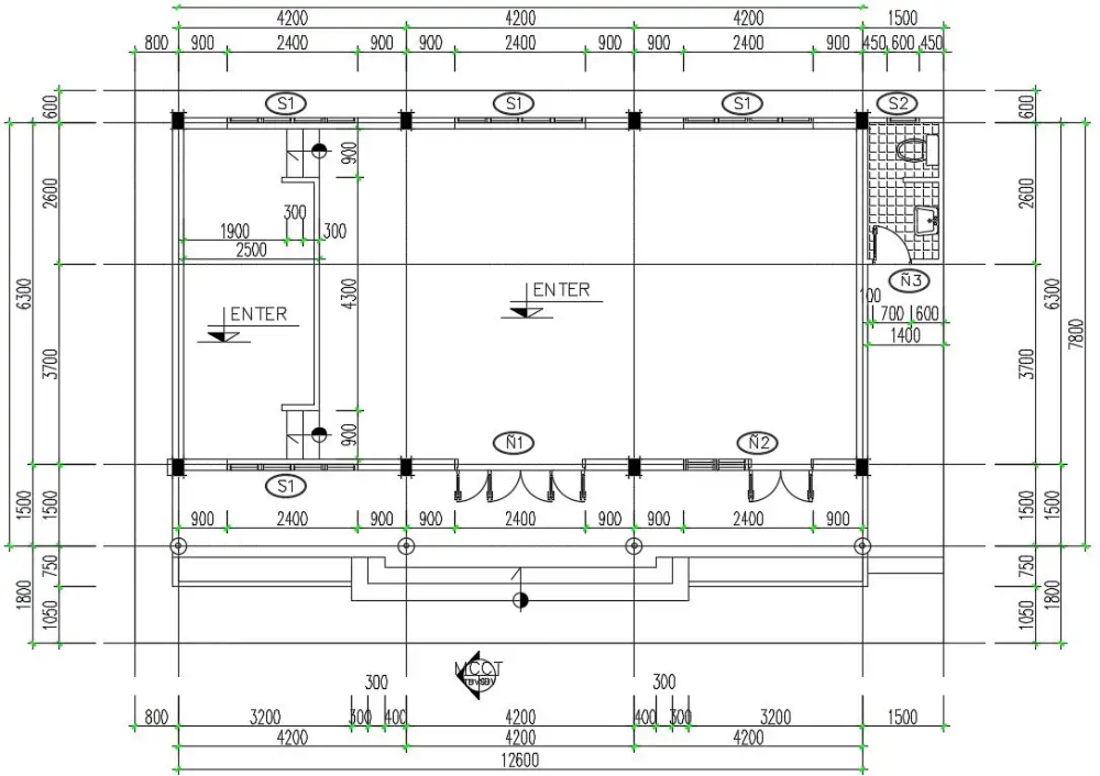12X7 Meter House Plan CAD Drawing Download DWG File