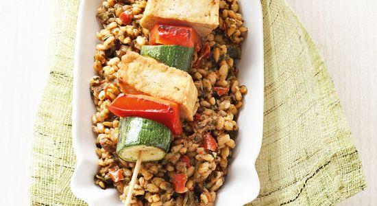 Gute Laune Risonno mit Tofu-Gemüse-Spieß