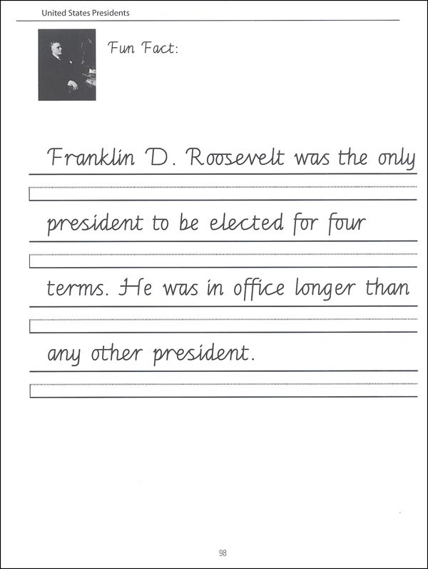 45 United States Presidents Character Writing Worksheets Getty Dubay ...