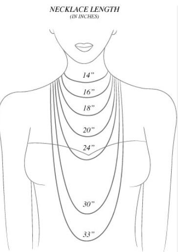 Do you know which necklace lengths look best on check out the jewelry sizing cheat sheet from diamonds in library also guide to sizes my necklaces rh pinterest
