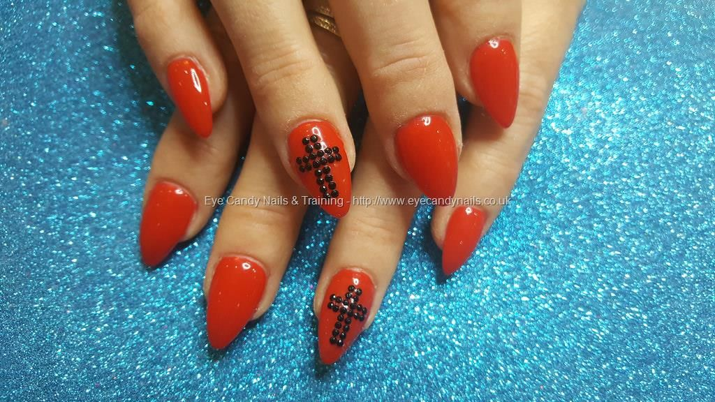 Acrylic nails with black cross   More Loveable Nails   Pinterest ...