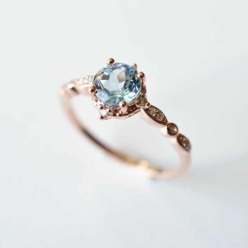 Aquamarine Engagement Ring White Gold Platinum Aquamarine Engagement Ring Antique Vintage Aquamarine Engagement Ring Aquamarine Wedding Ring