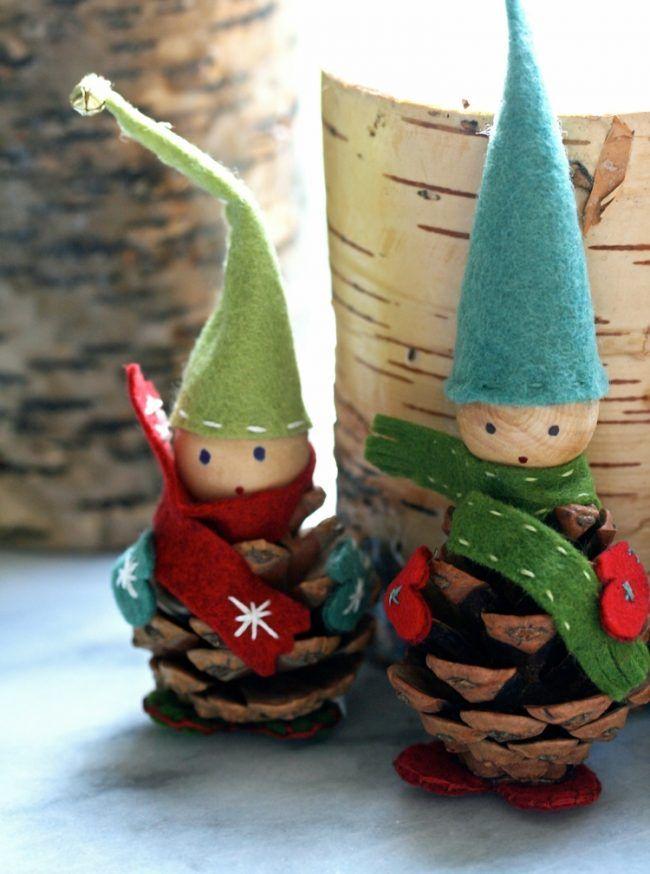wichtel basteln klein tannanzapfen hut trichter glocke basteln mit kindern weihnachten. Black Bedroom Furniture Sets. Home Design Ideas