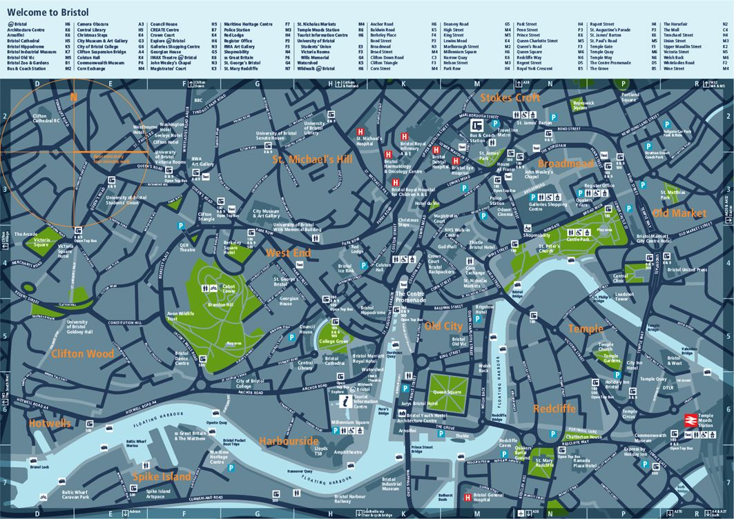 Bristol Legible City Walking Map emfor City IDem Maps