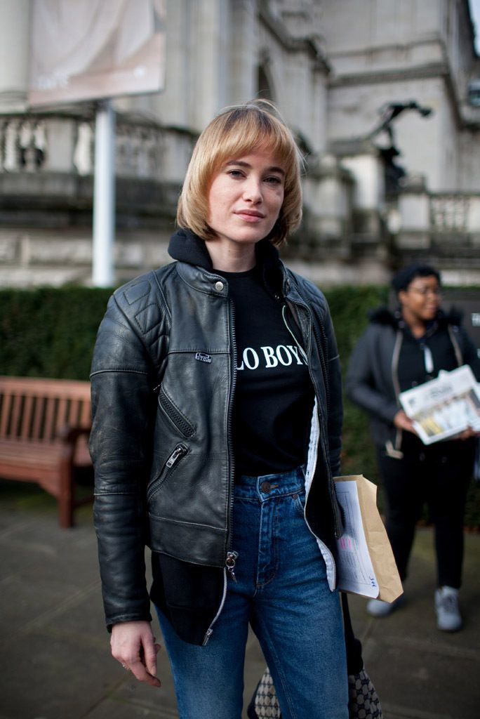 London Fashion Week Street Style RTW Fall 2016. High waisted jeans and leather hoodie