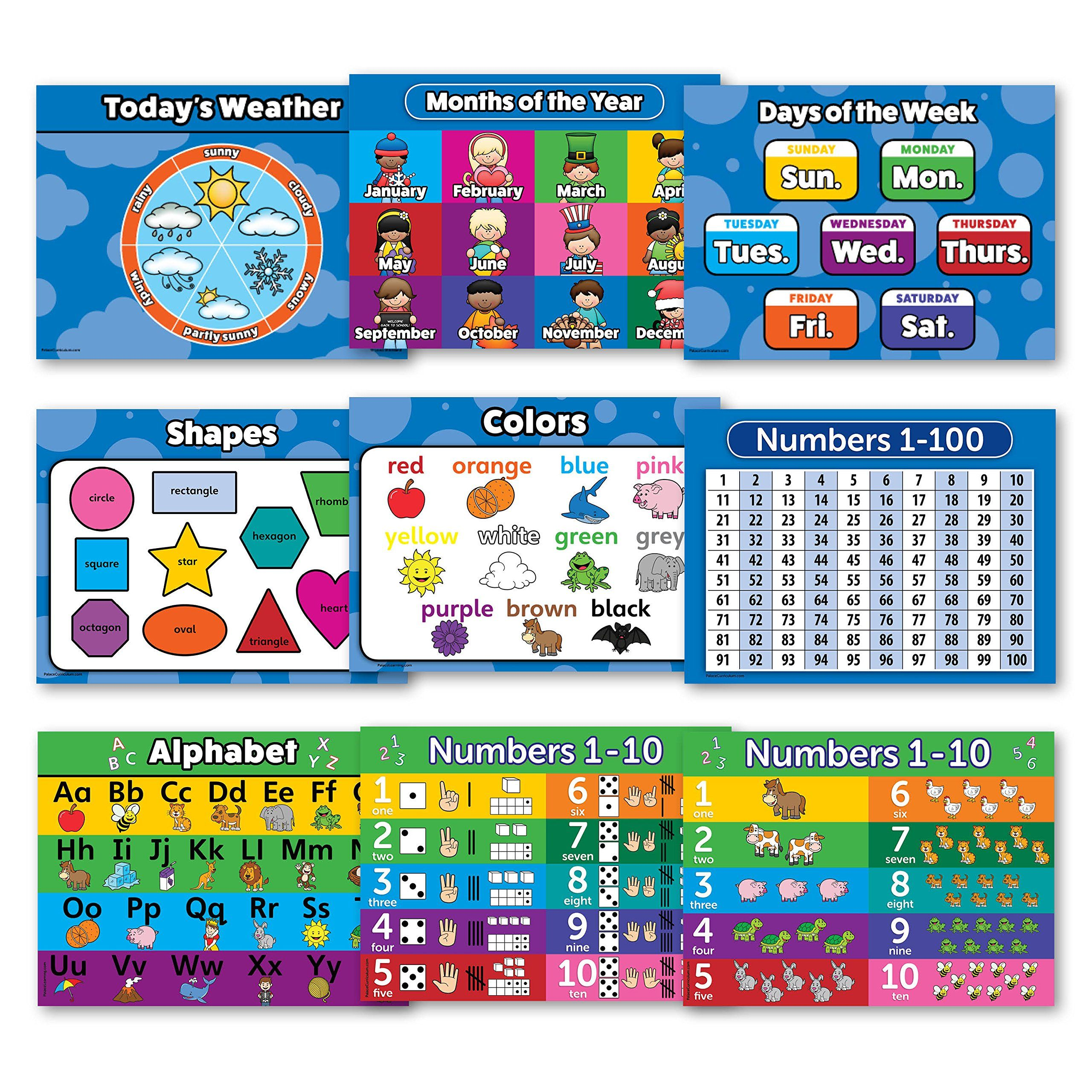 Toddler learning laminated poster kit educational wall posters for preschool kids abc alphabet numbers shapes colors also rh pinterest