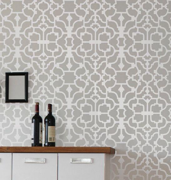Wall stencil vision reusable wallpaper stencils money for Pochoir geometrique