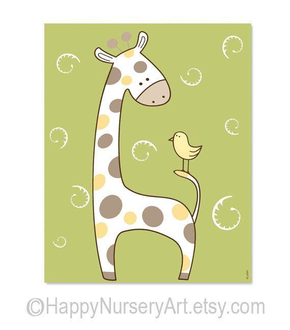 Green nursery art, giraffe baby art, children room decor, kids wall ...