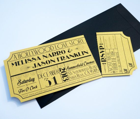old hollywood art deco gold movie ticket by brighteyedbirdie | old, Wedding invitations