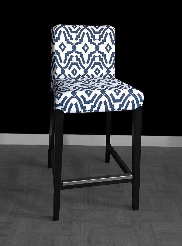 Ikea Henriksdal Bar Stool Cover Chevelle Navy Blue