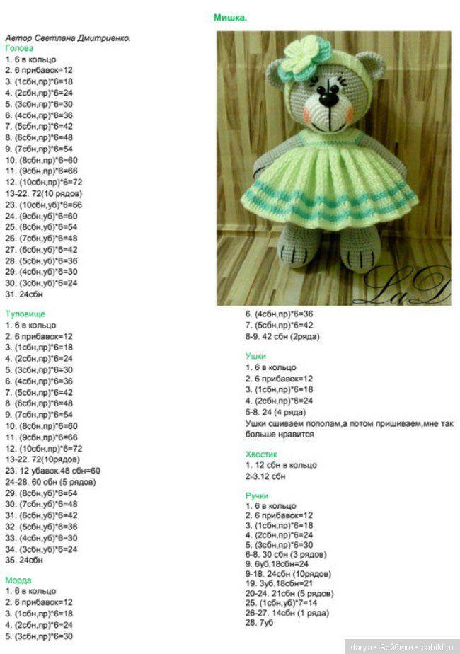 Игрушка вязанная спицами — мишка в платье, с описанием ...