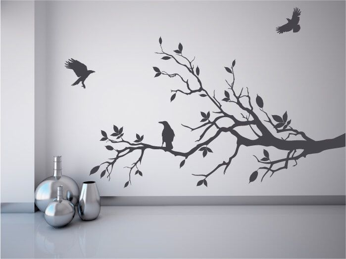 Tree branch wall decal with ravens crows mural stickers decal tree game of thrones fans by Quirkyworks33 on Etsy ... & Tree branch wall decal with ravens crows mural stickers decal tree ...
