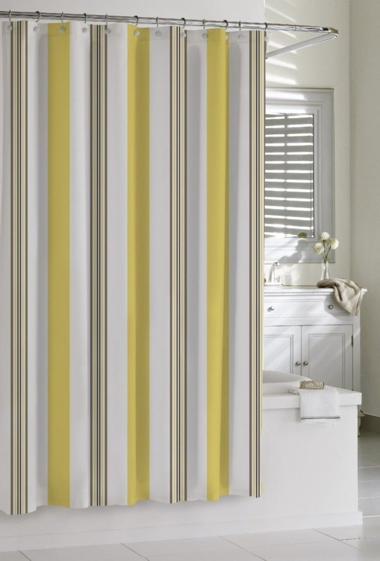 Yellow and grey striped shower curtain legalizecrew