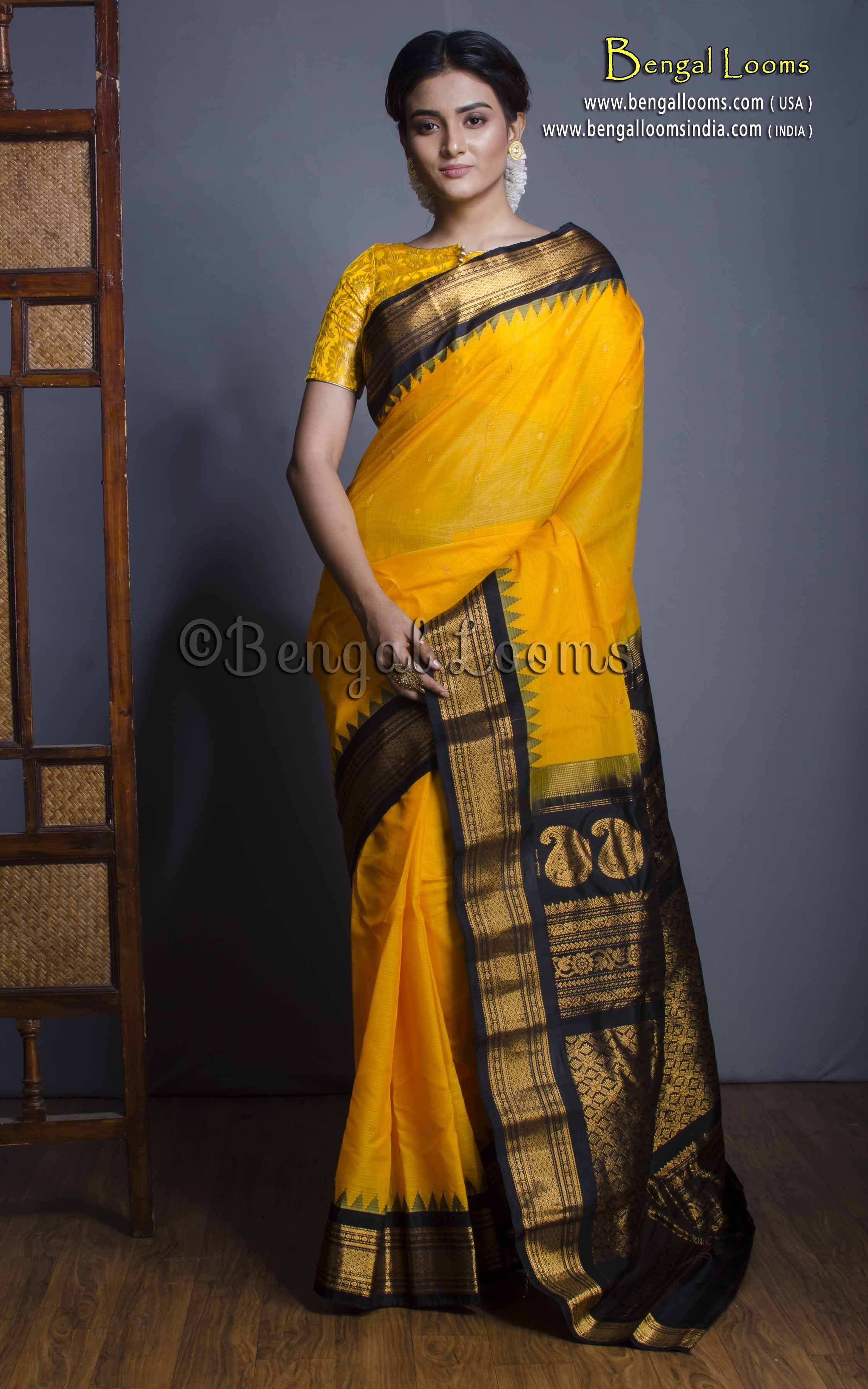 3098319915 Premium Quality Sico Gadwal Saree in Yellow and Black | Gadwal Silk ...