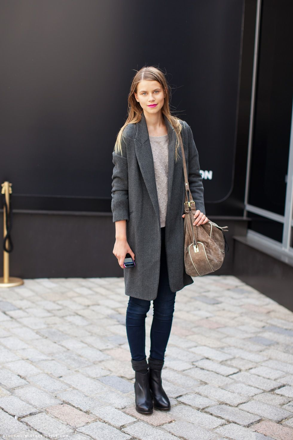 Oversized coats for A/W '13 paired with skinny jeans and tee and finished with simple boots