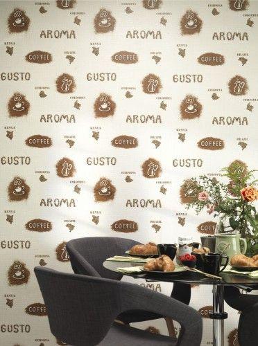 Küchen Tapete Rasch Kaffee Küche Creme Beigebraun 931501