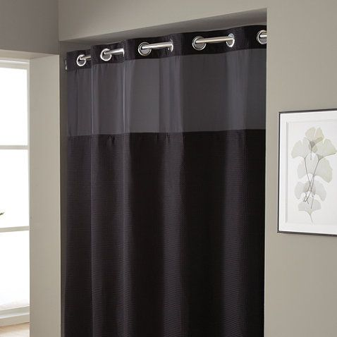Hookless Waffle Fabric Shower Curtain And Liner Set
