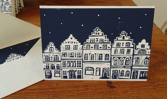 christmas card handpulled lino print greeting card. Black Bedroom Furniture Sets. Home Design Ideas