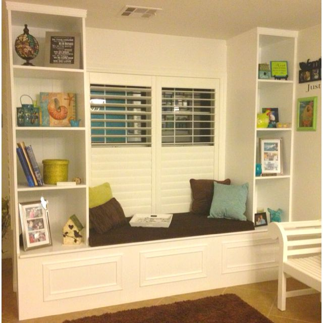 Built In Shelves And Window Seat With Storage Underneath! My Husband Made  This And Did