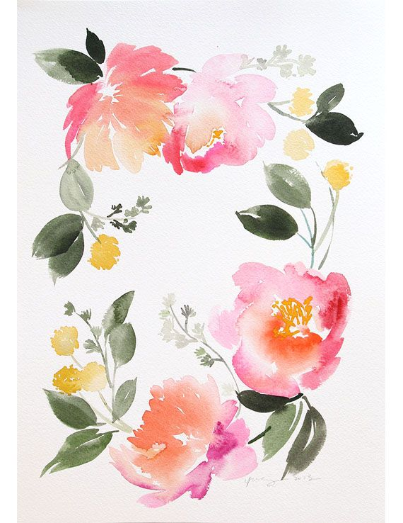 Floral Wreath Original 10x14 Jpg Floral Wreath Watercolor