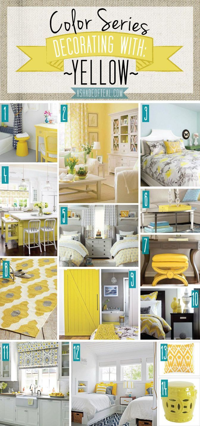 Color Series; Decorating with Yellow   Teal, Decorating and Room