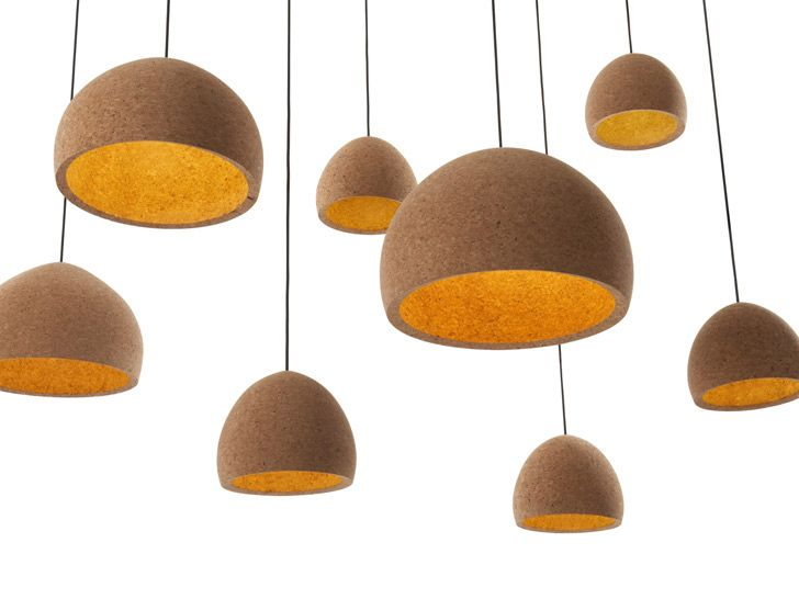 Using traditional wood working techniques, Benjamin Hubert turns blocks of Portuguese cork into beautiful lampshades for 'Float Light'.