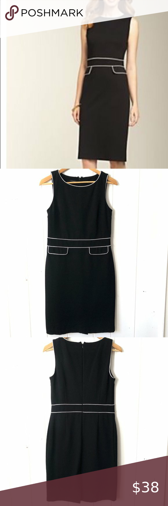 Talbots Black Shift Dress With White Piping Clothes Design Shift Dress Black Black Shift [ 1740 x 580 Pixel ]