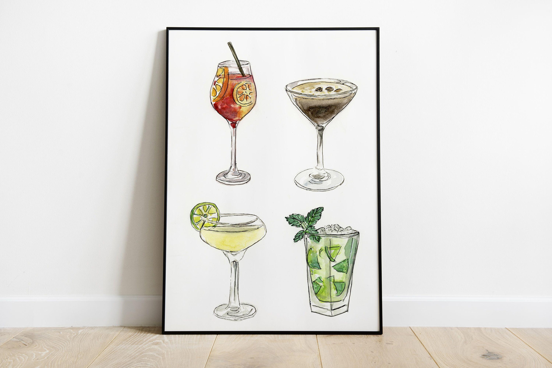Cocktails Wall Art Alcohol Print Cocktail Watercolour Kitchen Art Mohito Espresso Martini Aperol Spritz Gimlet Download Art Print Summer Wall Art Kitchen Art Art Prints