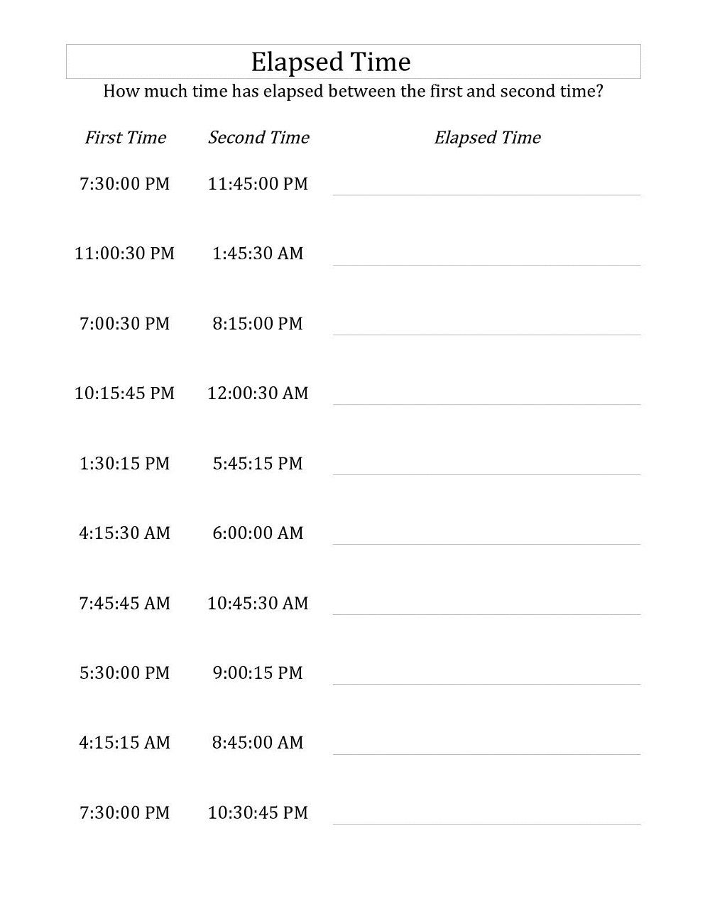 hight resolution of Elapsed Time Worksheet Printable   Time worksheets