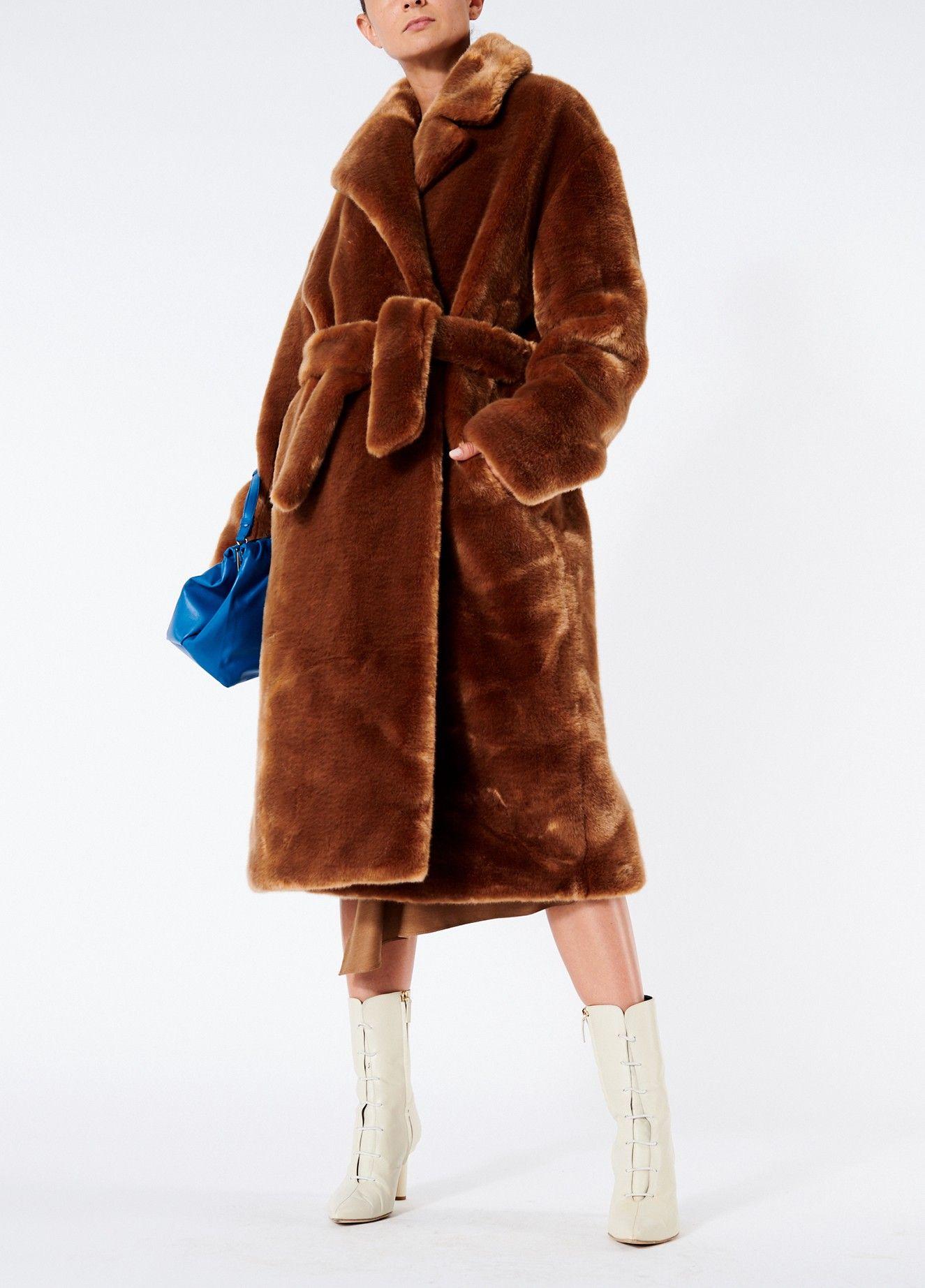 c51b828e1ebe Tibi Luxe Faux Fur Oversized Coat - Cocoa Brown Xxs Purple