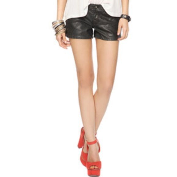 Forever 21 Faux Leather Shorts Cool leather look. They look great with thighs and can be worn in fall or even winter with boots and sweater. Forever 21 Shorts