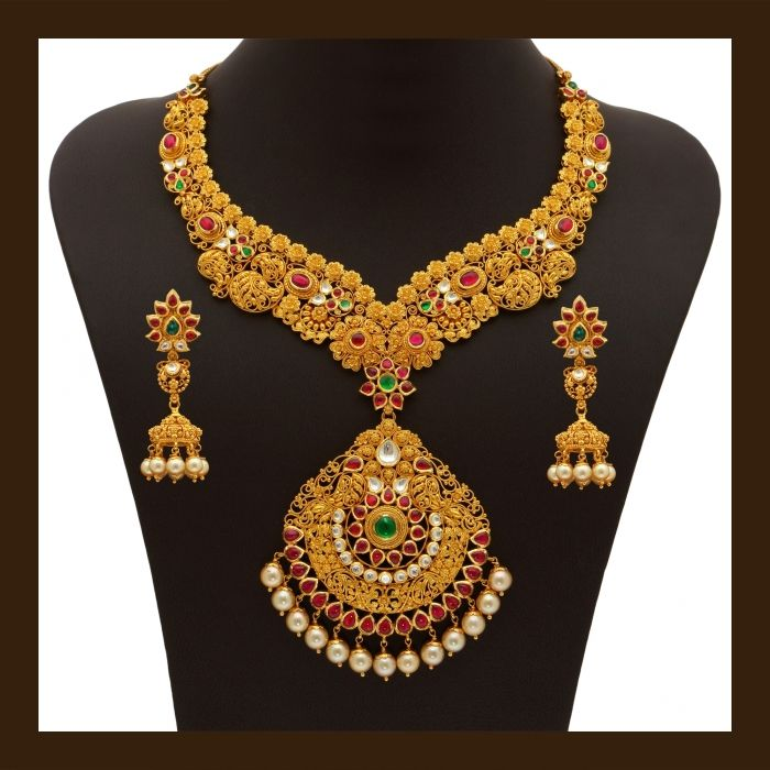 Gold Necklace Set (110A19559-108A52475) | Vummidi Bangaru ...