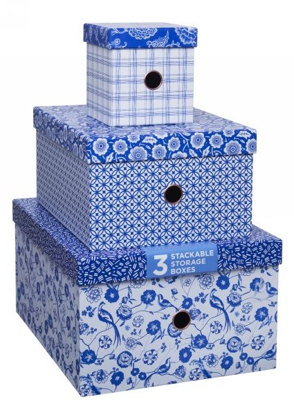 Delicieux Ocean Blue Nested Storage Boxes (Pack Of 3)