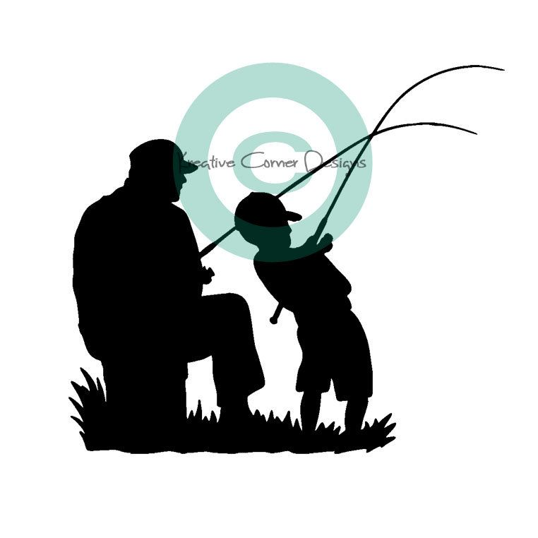 Father And Son Fishing Vinyl Decal Fish Silhouette Silhouette Art Fish Art