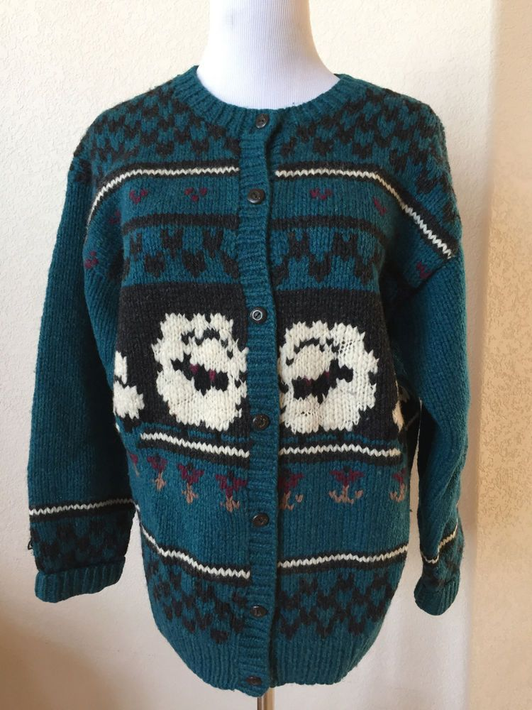 82dff68c270575 Woolrich Woman Sheep pattern on Teal 100% Wool Cardigan Sweater size M 42
