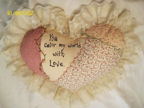 Embroidered HEART PILLOW versed in PEACHY Calico by JleCROW, $47.00