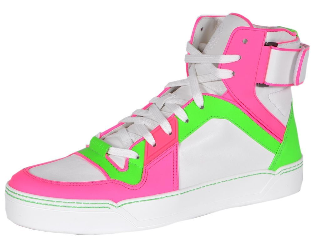 386738 Neon Pink Green Leather High