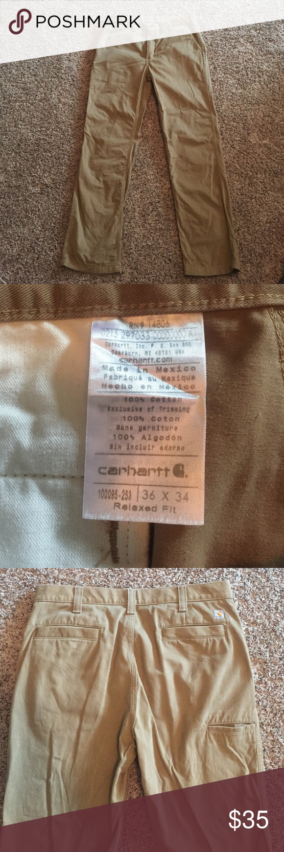 MENS CARHARTT RELAXED FIT PANTS! Khaki CARHARTT, relaxed fit men's pants. They are a size 36x34. They have a couple black dots on the pants (see last pic). Otherwise these are in great condition!!!  Asking $27/OBO! Feel free to message me with questions or offers! It doesn't hurt to send me an offer, I consider all :) Carhartt Pants Chinos & Khakis