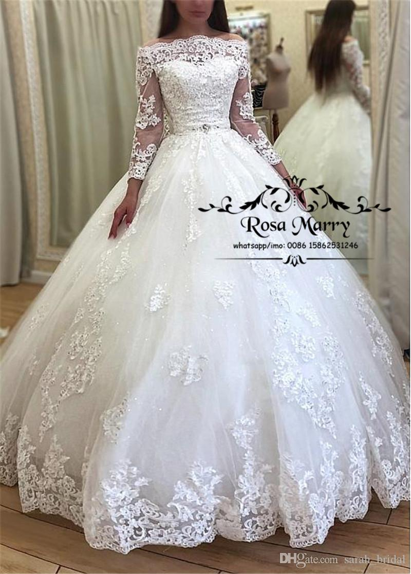 Sparkly Off Shoulder Ball Gown Wedding Dresses 2020 Vintage Lace