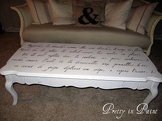 Charmant French Script Coffee Table, Stencil From Etsy
