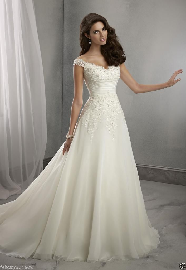 New A Line White Ivory Wedding Dress Bridal Gown Stock Size 4 6 8
