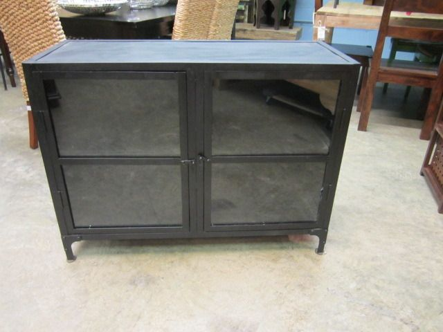 Glass front metal cabinet.  Measures: 40W 16D 30H. $435.