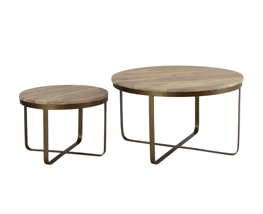 Black Acacia Wood Round Nesting Table Bronze Cross Legs Nesting Tables Table Perfect Coffee Table [ 813 x 1000 Pixel ]