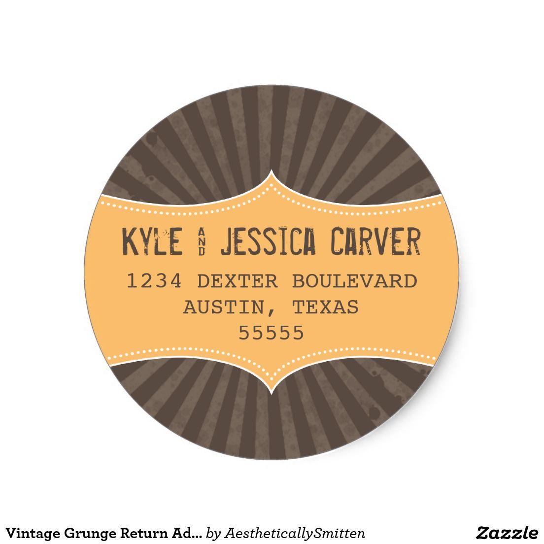 Vintage Grunge Return Address Label Template  Address Label