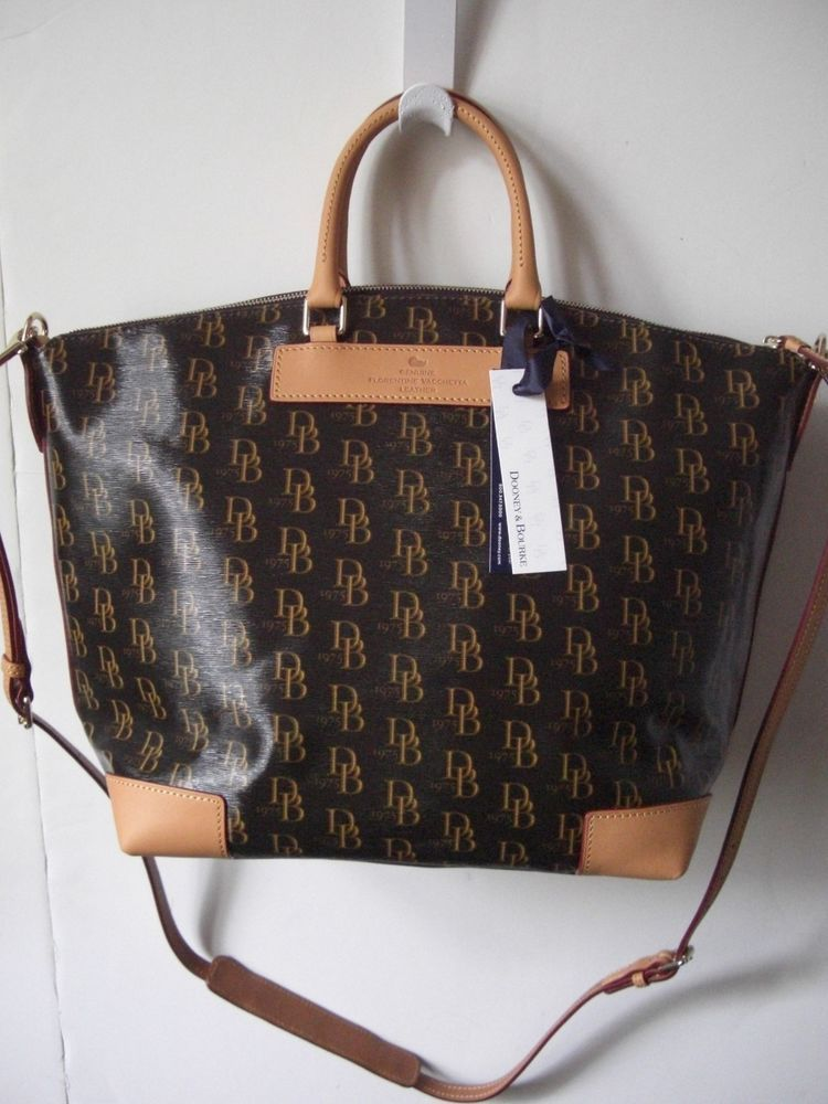 Dooney Bourke 1975 Db Signature Vanessa Satchel Bag Brown T Moro Biscuit Nwt
