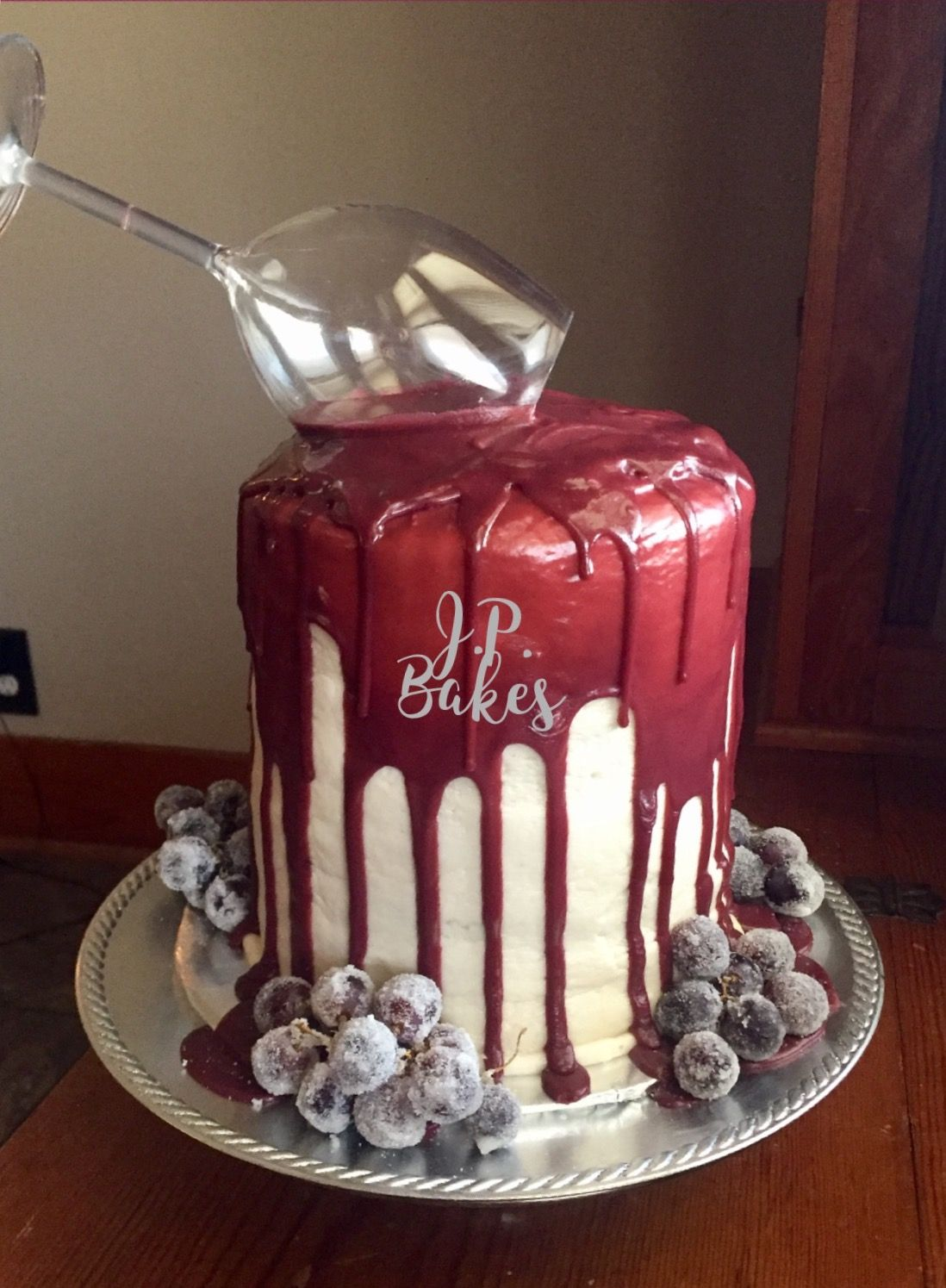 wine birthday cake Birthday cake 50th wine sugared fruit grapes spilled wine JP Bakes  wine birthday cake